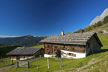 Meadows around the Arthurhaus chalet in Muehlbach, Mandlwaende mountain face of the Hochkoenig mountain at the back, Pinzgau region, St. Johann im Pongau district, Salzburger Land, Austria, Europe