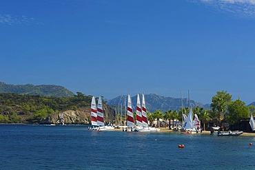 Catamarans on the beach of the D-Hotel Maris in Marmaris, Turkish Aegean Coast, Turkey