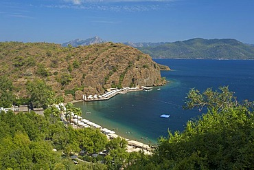 Private beach of the D-Hotel Maris in Marmaris, Turkish Aegean Coast, Turkey