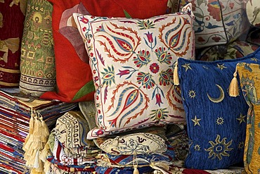 Cushion covers as souvenirs in the historic town of Bodrum, Turkish Aegean Coast, Turkey
