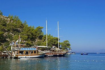 Excursion boats of the Hillside Club in Fethiye, Turkish Aegean Coast, Turkey