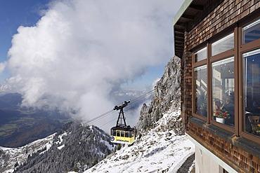 Weindelsteinhaus restaurant and cable car, Mt Wendelstein, Mangfall mountains, Upper Bavaria, Bavaria, Germany, Europe, PublicGround