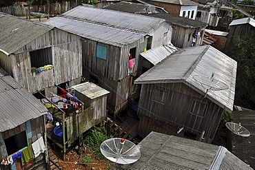 Favela, slums, in the Amazon, city of Tefe near Manaus, Amazonas province, Brazil, South America