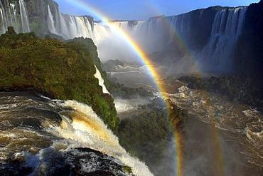 Iguacu or Iguazu Falls with a double rainbow, Brazilian side, UNESCO World Heritage Site, Iguacu National Park, Brazil, South America