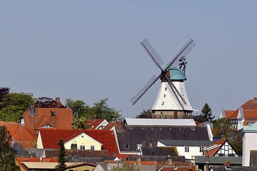 Amanda mill with a historic sawmill above the roofs of Kappeln, town on the Schlei river, Schleswig-Flensburg district, Schleswig-Holstein, Germany, Europe