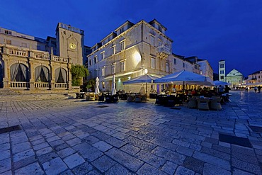 Venetian Loggia, Palace Hotel at the harbour, Hvar, Hvar Island, central Dalamatia, Dalmatia, Adriatic coast, Croatia, Europe, PublicGround