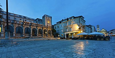 Venetian Loggia, Palace Hotel at the harbour at back, Cathedral of St. Stephen, Katedrala Svetog Stjepana, city of Hvar, Hvar Island, central Dalmatia, Dalmatia, Adriatic coast, Croatia, Europe, PublicGround
