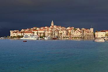 View of Korcula with approaching thunderstorm, central Dalmatia, Dalmatia, Adriatic coast, Croatia, Europe, PublicGround