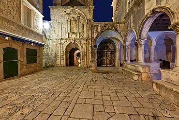 Loggia in the historic centre of Korcula, central Dalmatia, Dalmatia, Adriatic coast, Croatia, Europe, PublicGround