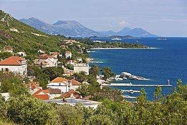 Overlooking the port town of Orebic, Central Dalmatia, Dalmatia, Adriatic coast, Croatia, Europe, PublicGround