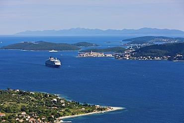 View over the Adriatic Sea towards Korcula and the Queen Victoria cruise ship, Central Dalmatia, Dalmatia, Adriatic coast, Croatia, Europe, PublicGround