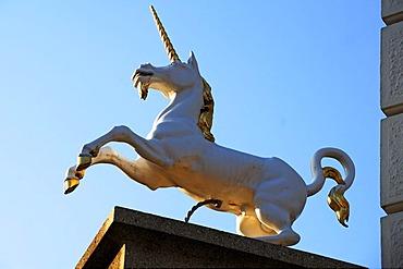 Figure of a unicorn, Einhornapotheke, unicorn pharmacy, against blue sky, Am Sande, Lueneburg, Lower Saxony, Germany, Europe