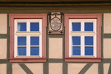 Two windows of an old half-timbered house, c 1790, with inscription of the owner, Koenigsberg, Lower Franconia, Bavaria, Germany, Europe