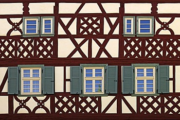 Detail view of a Franconian half-timbered house, 1689, Koenigsberg, Lower Franconia, Bavaria, Germany, Europe