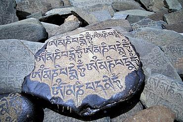 Prayer stone with the widespread Buddhist mantra Om Mani Padme Hum on it, Zanskar valley, Zanskar, Ladakh, Jammu and Kashmir, Indian Himalayas, northern India, India, Asia