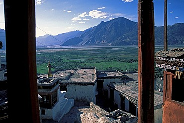 View from the Diskit Monastery, Deskit Gompa, over the Nubra Valley, Gompa, Hunder, Ladakh, Indian Himalayas, Jammu and Kashmir, northern India, India, Asia