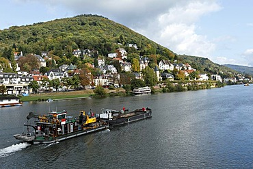 Barge passing villas on the Neckar River, Heidelberg, Baden-Wuerttemberg, Germany, Europe
