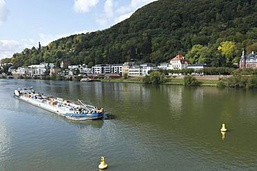 Fuel boat on the Neckar River, Heidelberg, Baden-Wuerttemberg, Germany, Europe