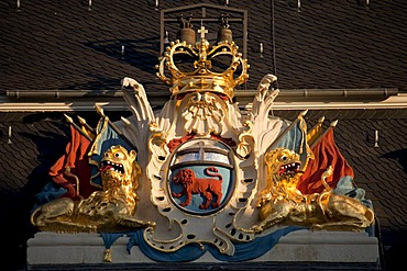 Coat of arms on the old town hall in Bonn, North Rhine-Westphalia, Germany, Europe