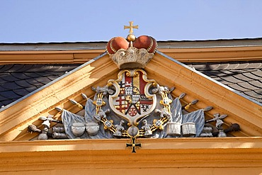 Coat of arms on a gable, Schloss Neuhaus castle, an outstanding Weser-Renaissance building in Paderborn, North Rhine-Westphalia, Germany, Europe