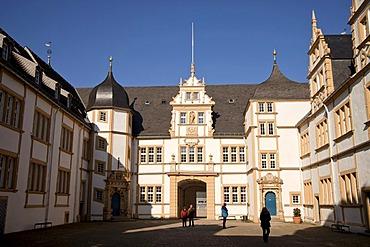 Courtyard of Schloss Neuhaus castle, an outstanding Weser-Renaissance building in Paderborn, North Rhine-Westphalia, Germany, Europe