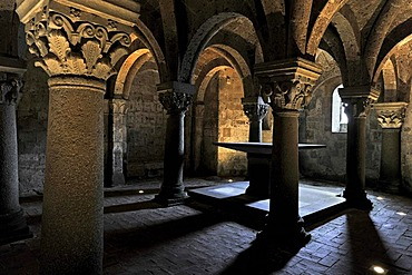 Altar in the underground pillared hall of the pagan crypt, 10th century, Cathedral of St. Sepulchre, Basilica Cattedrale di San Sepolcro, Aquapendente, Lazio, Italy, Europe