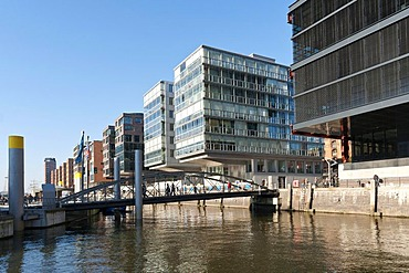 Modern residential and commercial buildings on the waterfront in Hamburg's HafenCity, Hamburg, Germany, Europe