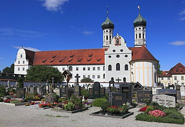 St Benedict monastery church and Kloster Benediktbeuren monastery, former Benedictine abbey, Bad Toelz-Wolfratshausen district, Bavaria, Germany, Europe
