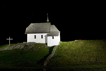 Maria zum Schnee chapel, illuminated at night, Bettmeralp, Valais, Swiss Alps, Switzerland, Europe, PublicGround