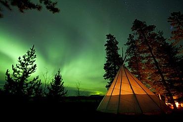 Illuminated teepee, tipi, tepee, Northern lights, Polar Aurorae, Aurora Borealis, green, near Whitehorse, Yukon Territory, Canada