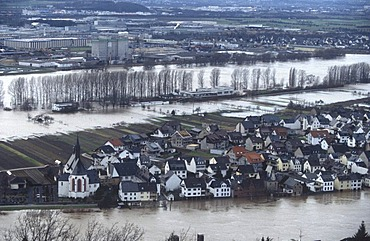 Aerial view, hundred year flood of Rhine river in 1995, Niederwerth, Rhineland-Palatinate, Germany, Europe