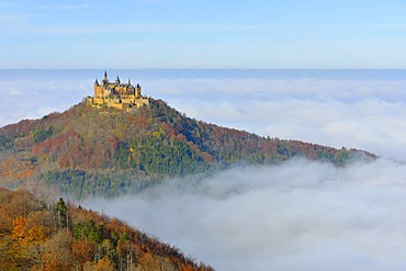 Burg Hohenzollern castle with fog, Swabian Alp, Baden-Wuerttemberg, Germany, Europe