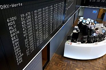 Trading floor of Frankfurter Wertpapierboerse, Frankfurt Stock Exchange, Deutsche Boerse AG, Frankfurt am Main, Hesse, Germany, Europe