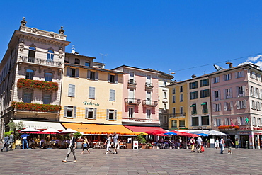 Restaurants and cafes on the Piazza della Riforma in Lugano, Lake Lugano, Lago di Lugano, Ticino, Switzerland, Europe