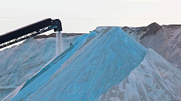Rock salt mined from an underground mine is piled up at the Detroit Salt Company, the salt is used mainly for high de-icing, Detroit, Michigan, USA