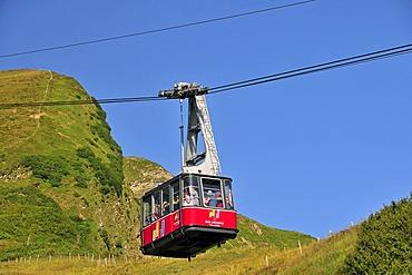 Cable car gondola to summit station, Mt Fellhorn, Oberstdorf, Allgaeu Alps, Bavaria, Germany, Europe, PublicGround