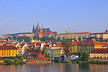 Vltava river, Prague Castle, Hradcany, Prague, Bohemia, Czech Republic, Europe, PublicGround