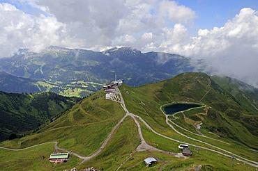 Kanzelwandbahn summit station, lake Schneeteich, an artificial lake, Kleinwalsertal valley, Allgaeu, Vorarlberg, Austria, Europe, PublicGround