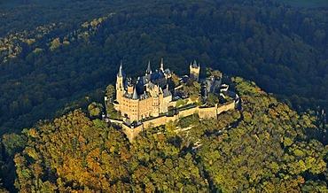 Aerial view, Burg Hohenzollern Castle, Hechingen, Swabian Alp, Baden-Wuerttemberg, Germany, Europe