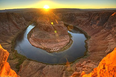 Horseshoe Bend or King Bend, a meandering bend of the Colorado River, at sunset, Page, Glen Canyon National Recreation Area, Arizona, United States of America, USA