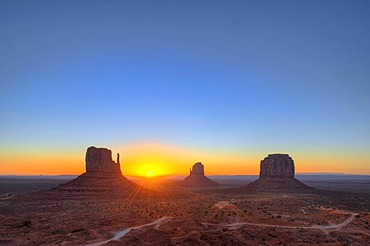Sunrise with mesas, West Mitten Butte, East Mitten Butte, Merrick Butte, Scenic Drive, Monument Valley, Navajo Tribal Park, Navajo Nation Reservation, Arizona, Utah, United States of America, USA