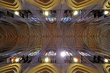 Ceiling, nave, Washington National Cathedral or Cathedral Church of Saint Peter and Saint Paul in the diocese of Washington, Washington, DC, District of Columbia, United States of America, USA