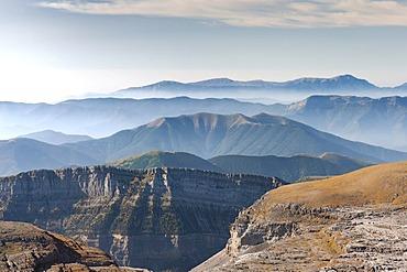 View across the Canyon d'Arazas and the Rio Cinca Valley, Valle de Ordesa, Parc National des Pyrenees, Aragon, Spain, Europe, PublicGround