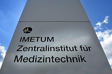 Info column, Technical University of Munich, Central Institute for Medical Technology, IMETUM, Garching near Munich, Bavaria, Germany, Europe, PublicGround