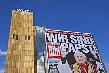 Wir sind Papst, German for We are Pope, poster on the Axel Springer building, for the occasion of the visit of Pope Benedict XVI to Germany, Berlin, Germany, Europe