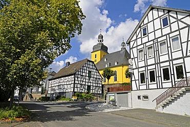 St Sebastian parish church, half-timbered houses, Friesenhagen, Wildenburger Land, Westerwald region, Rhineland-Palatinate, Germany, Europe, PublicGround