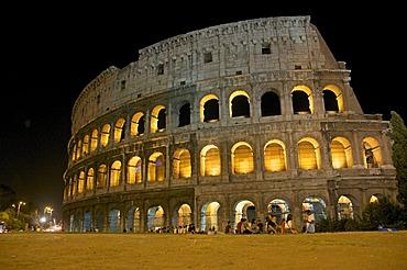 Coliseum, illuminated at night, Rome, Lazio, Italy, Europe