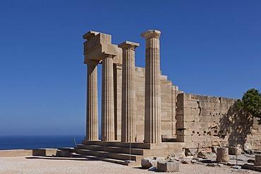 Columns, ruin, Acropolis of Lindos, Rhodes, Greece, Europe