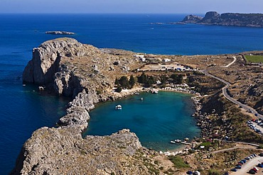 St Paul's Bay, view from the Acropolis of Lindos, Lindos, Rhodes, Greece, Europe