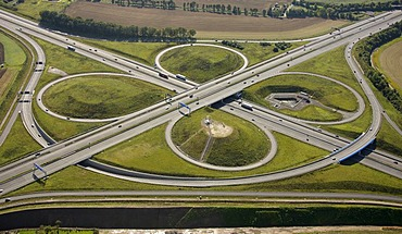 Aerial view, ADAC monument to honour the Yellow Angels, artist Alex Gockel, at the Kamener Kreuz, cross junction of the A1 and A2 motorways, Kamen, Ruhr Area, North Rhine-Westphalia, Germany, Europe